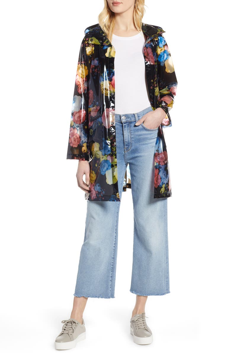 HALOGEN<SUP>®</SUP> Floral Print Translucent Hooded Rain Jacket, Main, color, 001