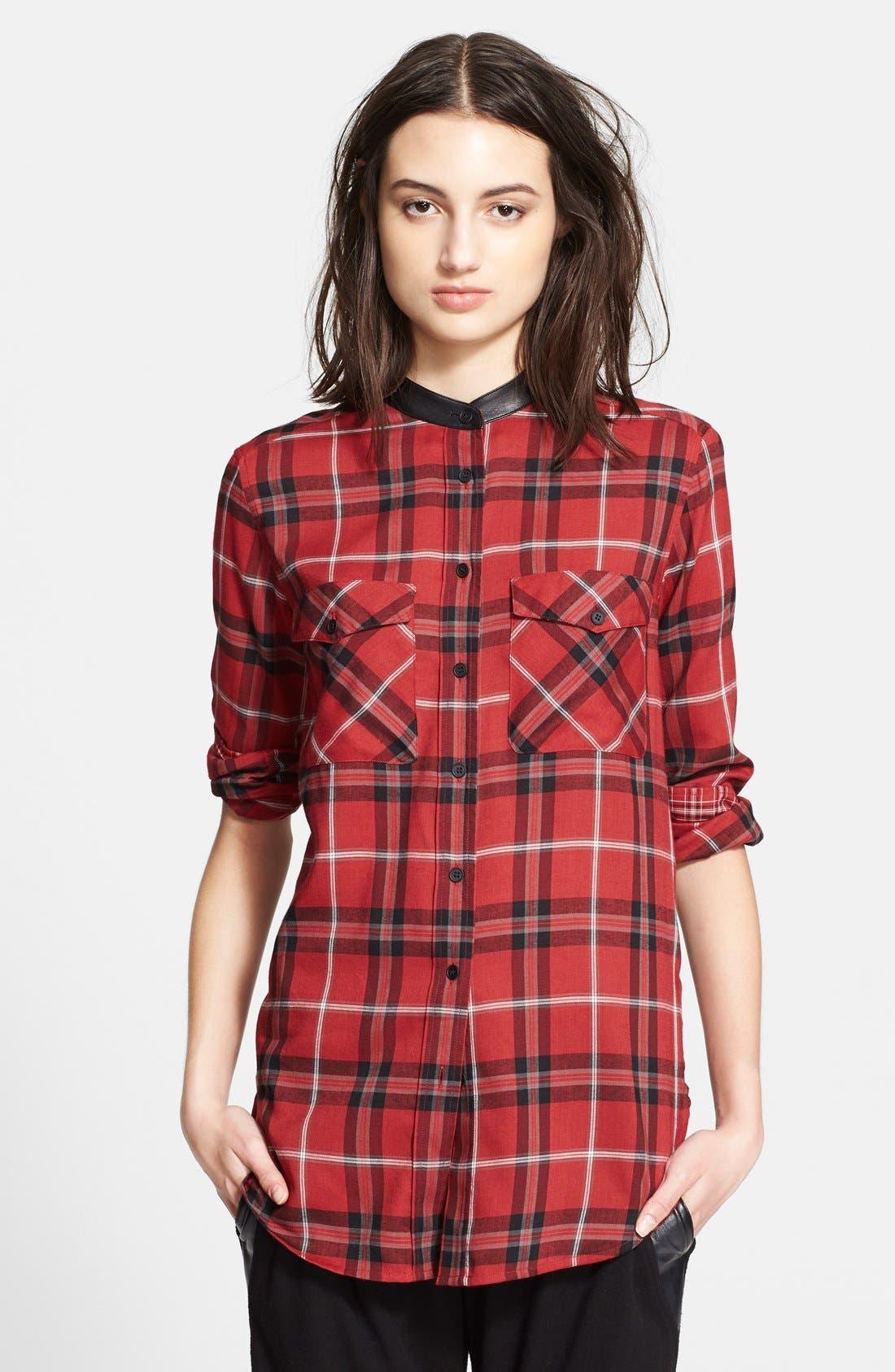 ,                             Leather Trim Plaid Long Sleeve Shirt,                             Main thumbnail 4, color,                             623