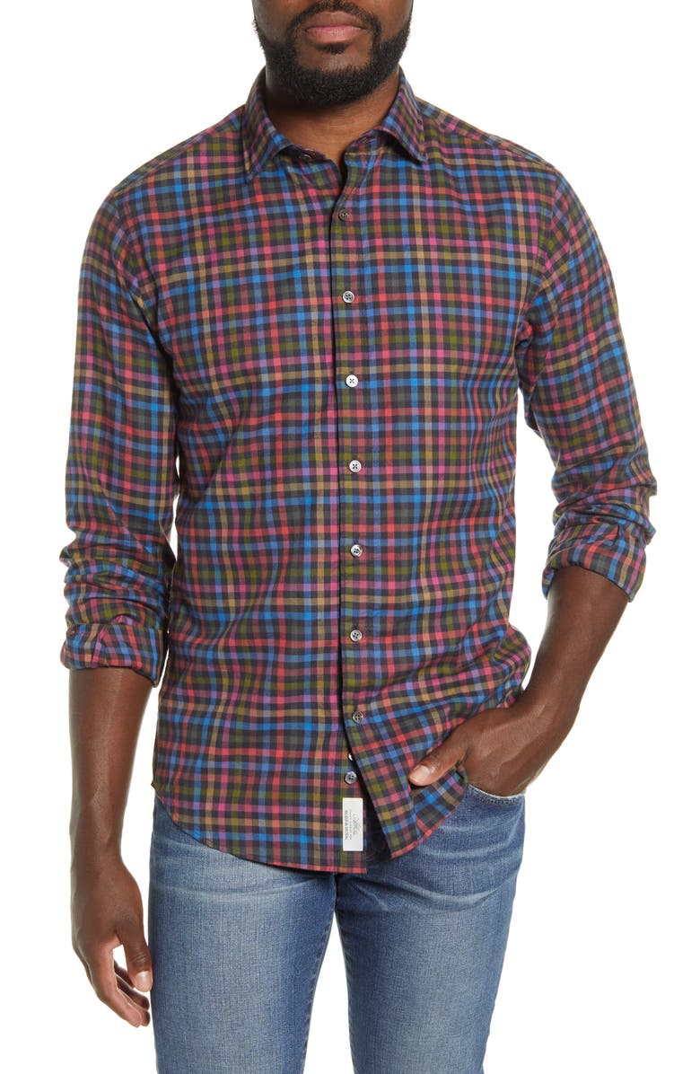 RODD & GUNN Evansdale Plaid Button Front Shirt, Main, color, NERO