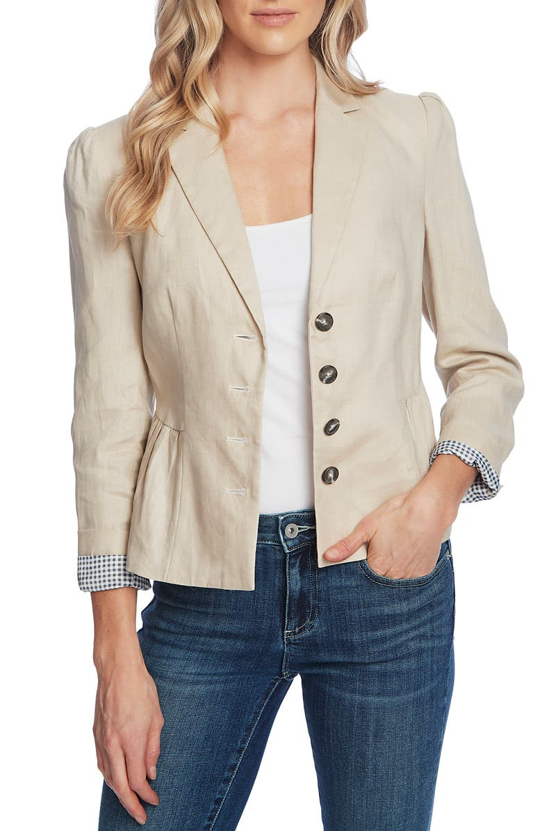 CECE Peplum Linen Jacket, Main, color, CRISP SAND