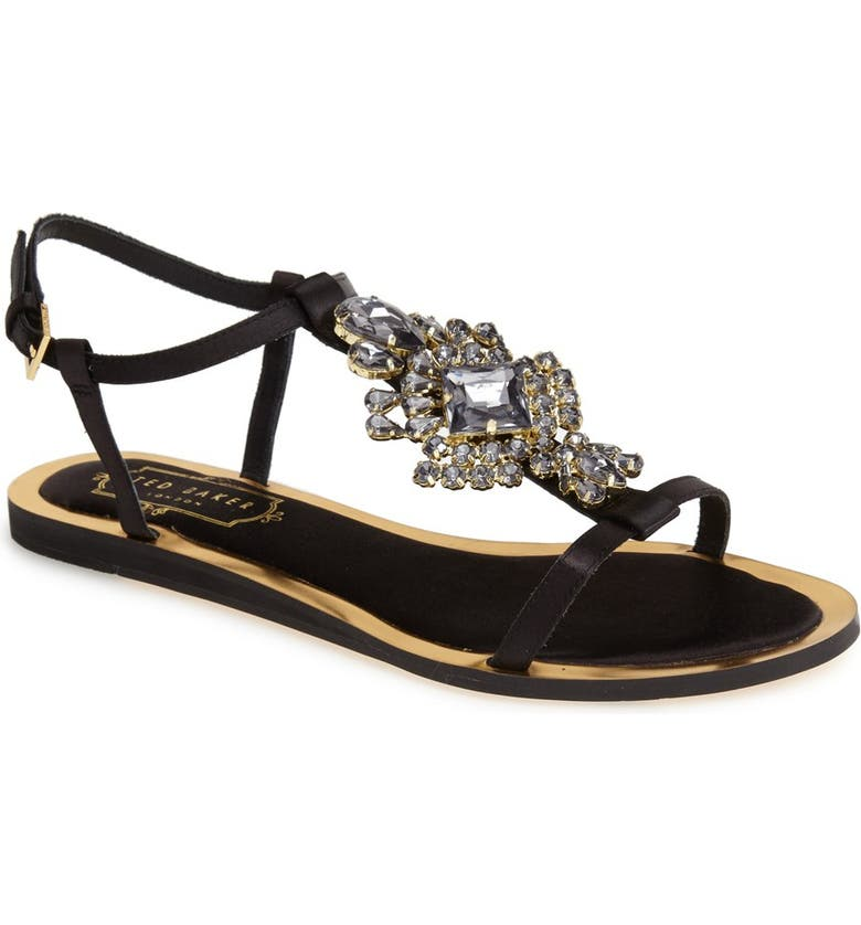 TED BAKER LONDON 'Roseupe' Crystal Embellished Flat Sandal, Main, color, 011