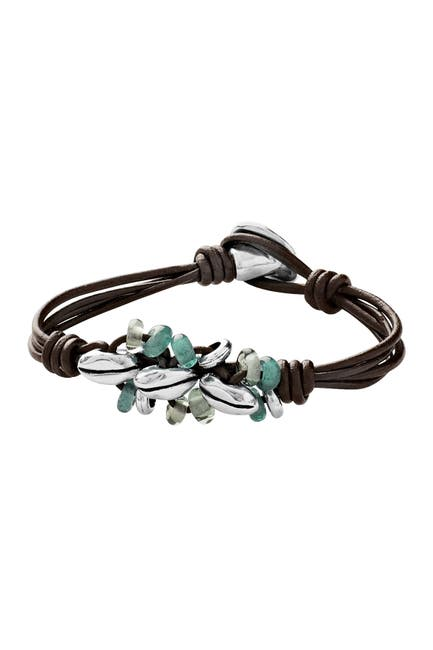 Image of Uno De 50 Sowing Silver Plated Crystal Beaded Leather Bracelet