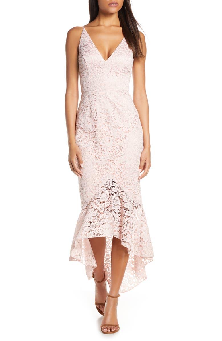 ELIZA J Sleeveless V-Neck Midi Dress, Main, color, BLUSH
