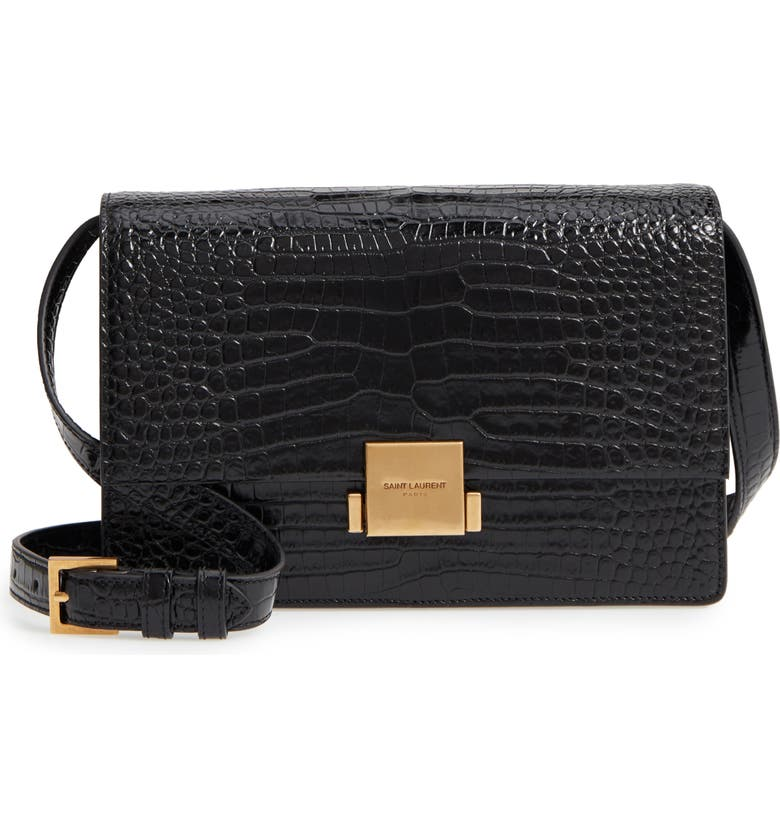 b2c7632299 Medium Bellechasse Croc Embossed Leather Shoulder Bag, Main, color, NERO