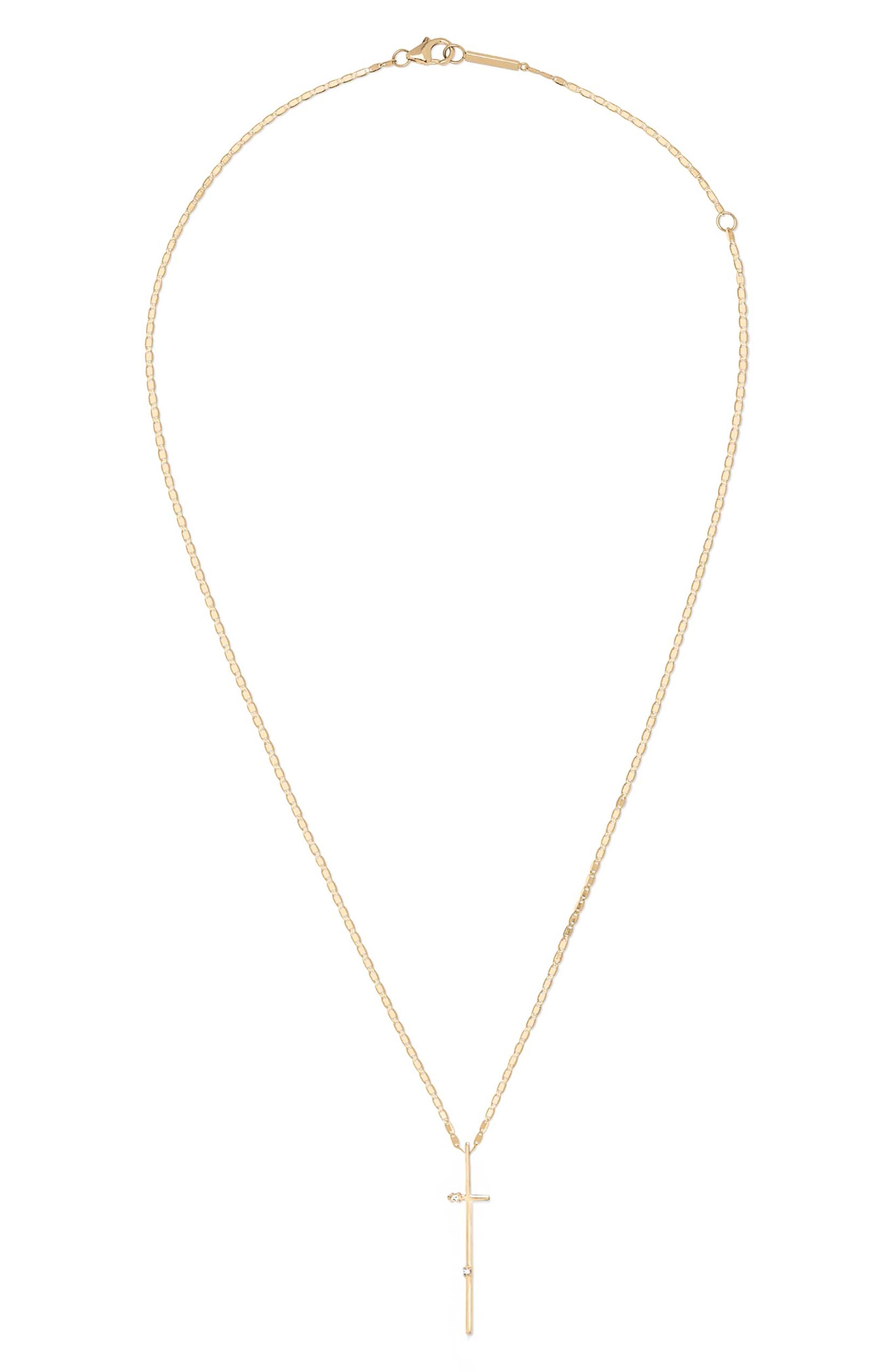Solo Diamond Cross Pendant Necklace