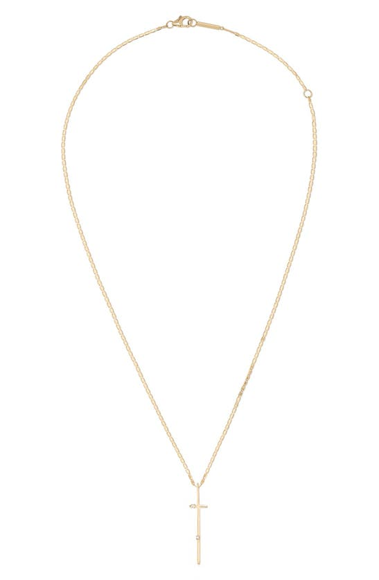 Lana Jewelry Women's 14k Yellow Gold & Black Diamond Cross Lariat Necklace