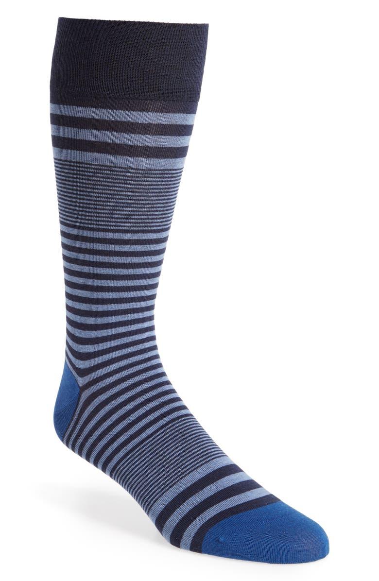 COLE HAAN Skater Stripe Socks, Main, color, MARINE BLUE