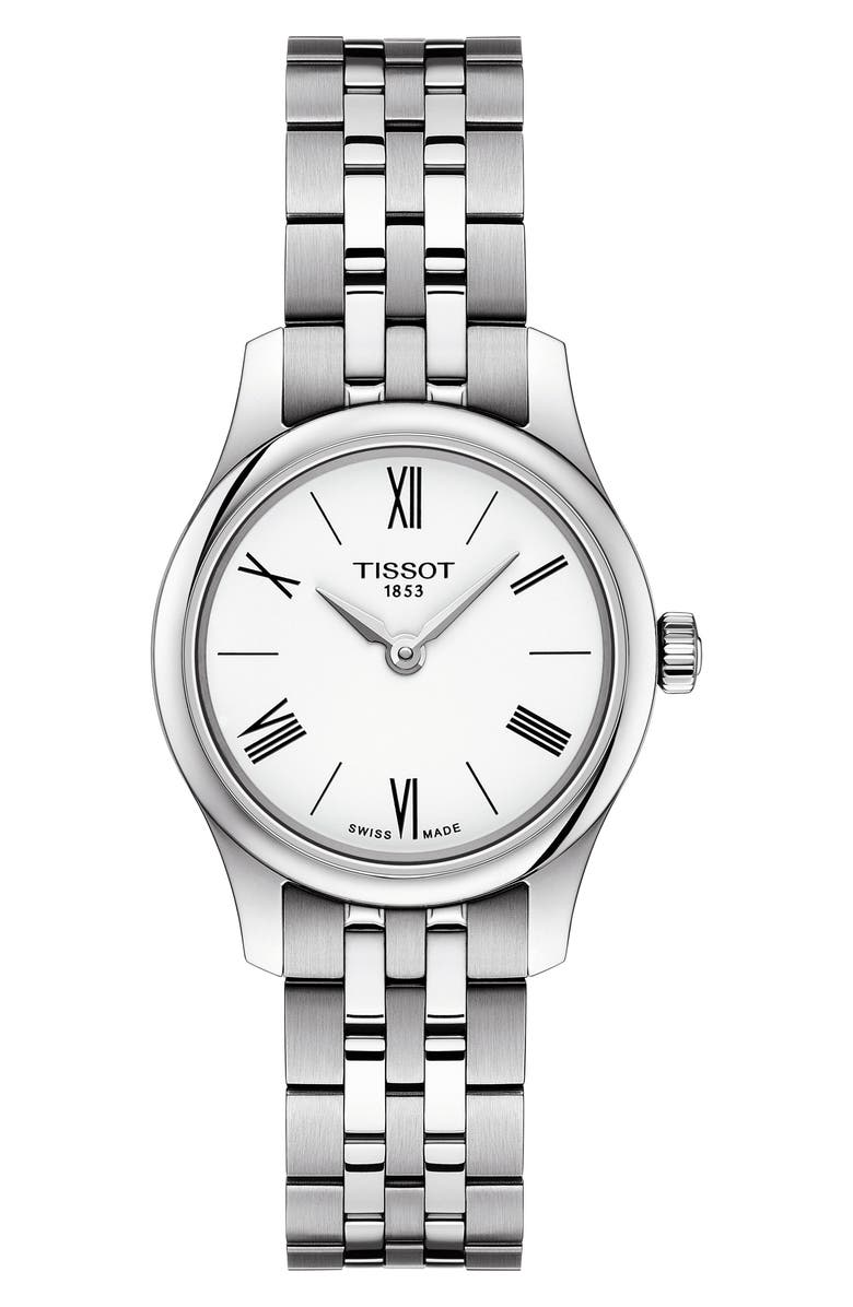 TISSOT Tradition 5.5 Lady Round Bracelet Watch, 25mm, Main, color, SILVER/ WHITE/ SILVER