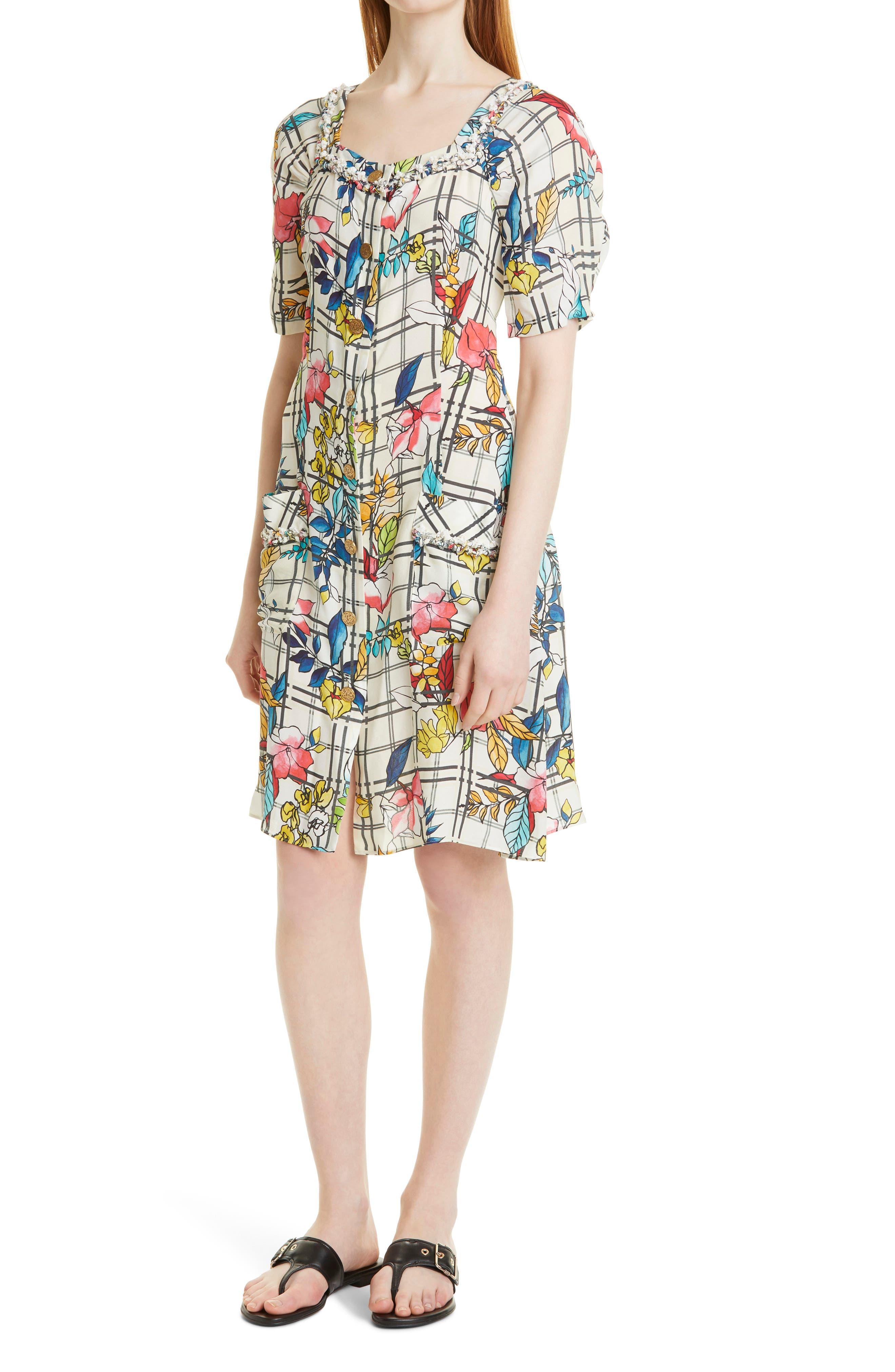 Floral Button-Up A-Line Dress