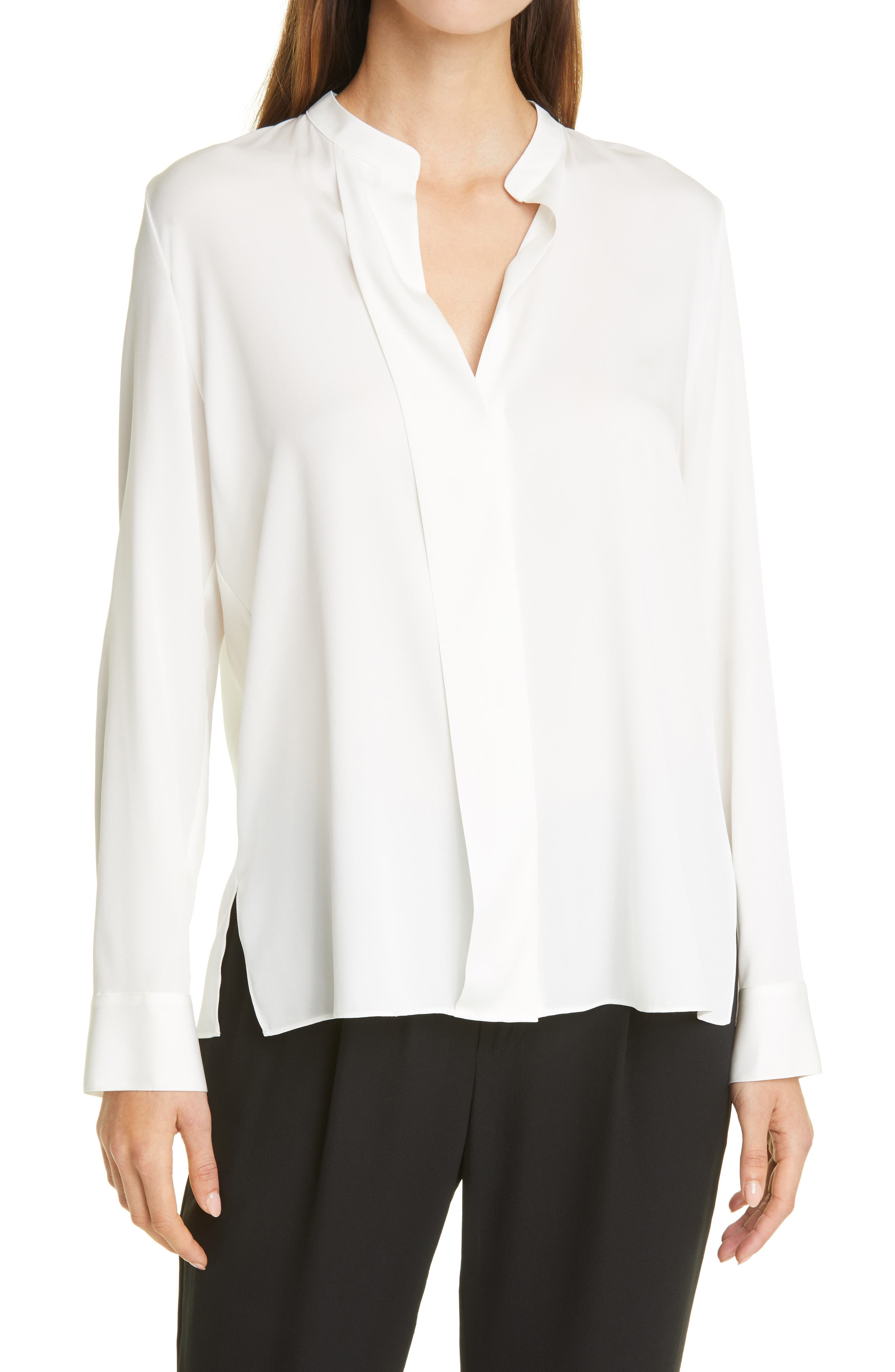 Vince Slim Fit Band Collar Stretch Silk Blouse | Nordstrom