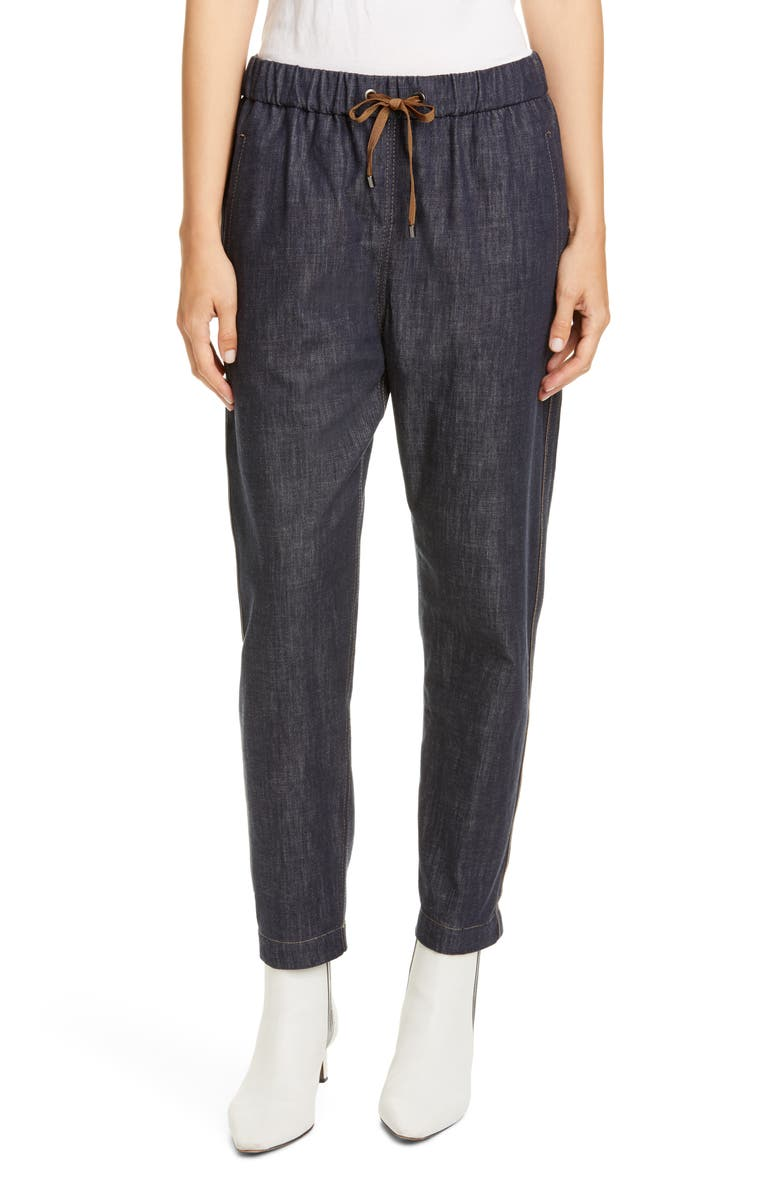 BRUNELLO CUCINELLI Monili Side Stripe Denim Track Pants, Main, color, DARK DENIM