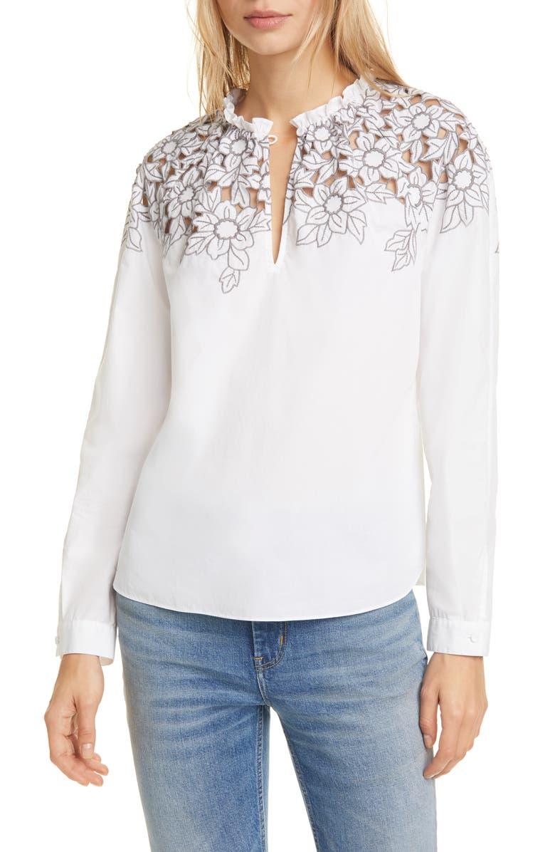 LA VIE REBECCA TAYLOR Embroidered Cotton Poplin Blouse, Main, color, MILK/ SLATE