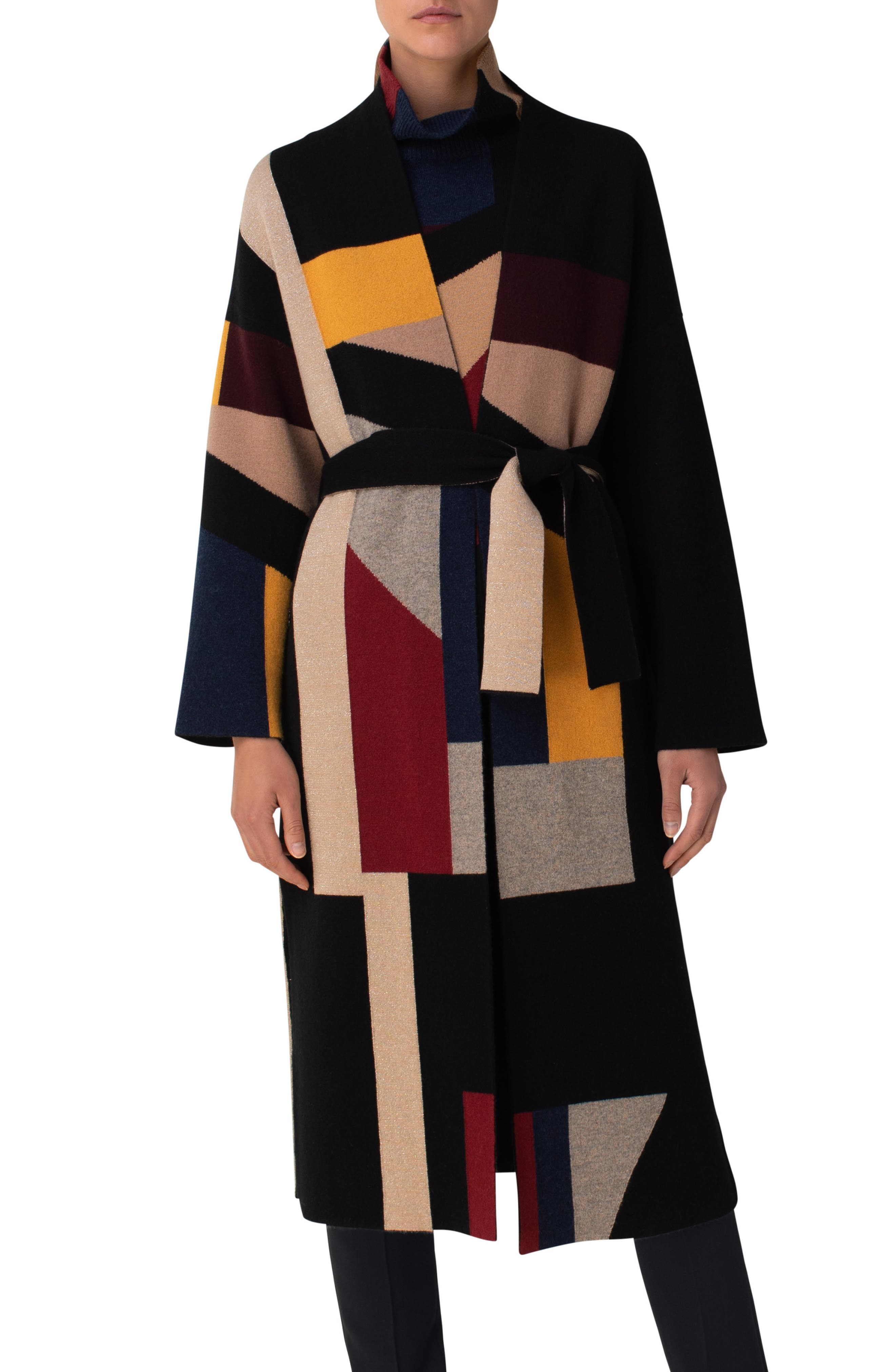 This double-face jacquard sweater-coat reverses from a striking cubist pattern to a solid hue, making it a versatile, timeless option for transitioning seasons. Style Name: Akris Belted Reversible Sweater Coat. Style Number: 6049520. Available in stores.