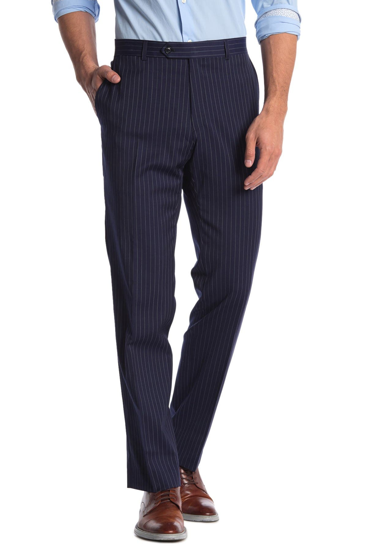 Image of Tommy Hilfiger Slim Fit Pinstripe Wool Blend Suit Seperate Pants