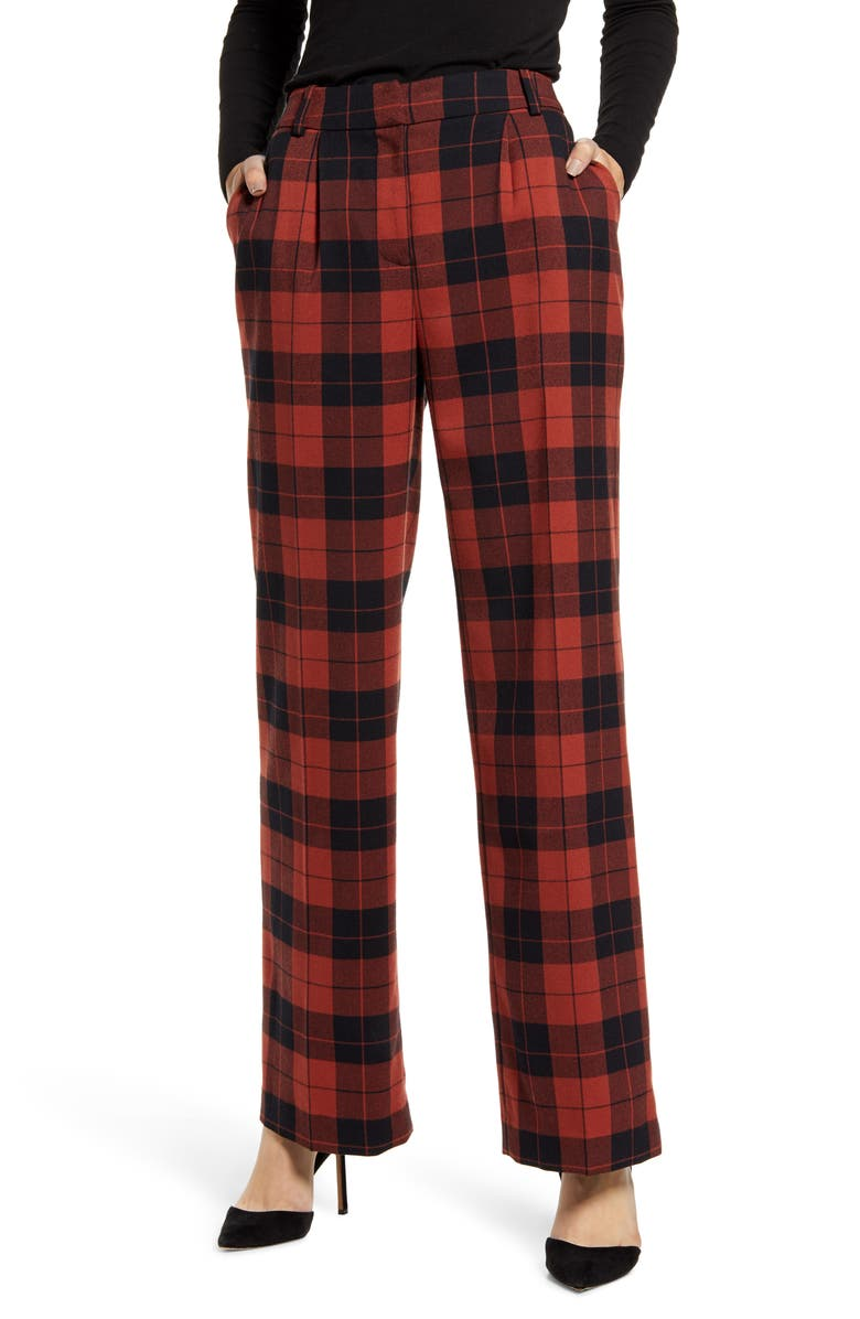 CHELSEA28 High Waist Plaid Pants, Main, color, RUST HENNA TARTAN