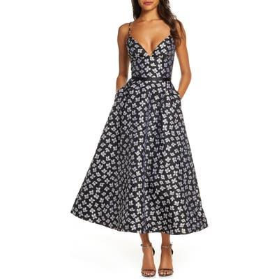 Ml Monique Lhuillier Floral Jacquard Evening Dress