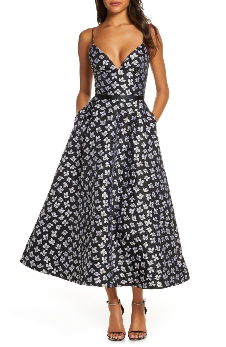 ML MONIQUE LHUILLIER Floral Jacquard Evening Dress, Main, color, JET MULTI