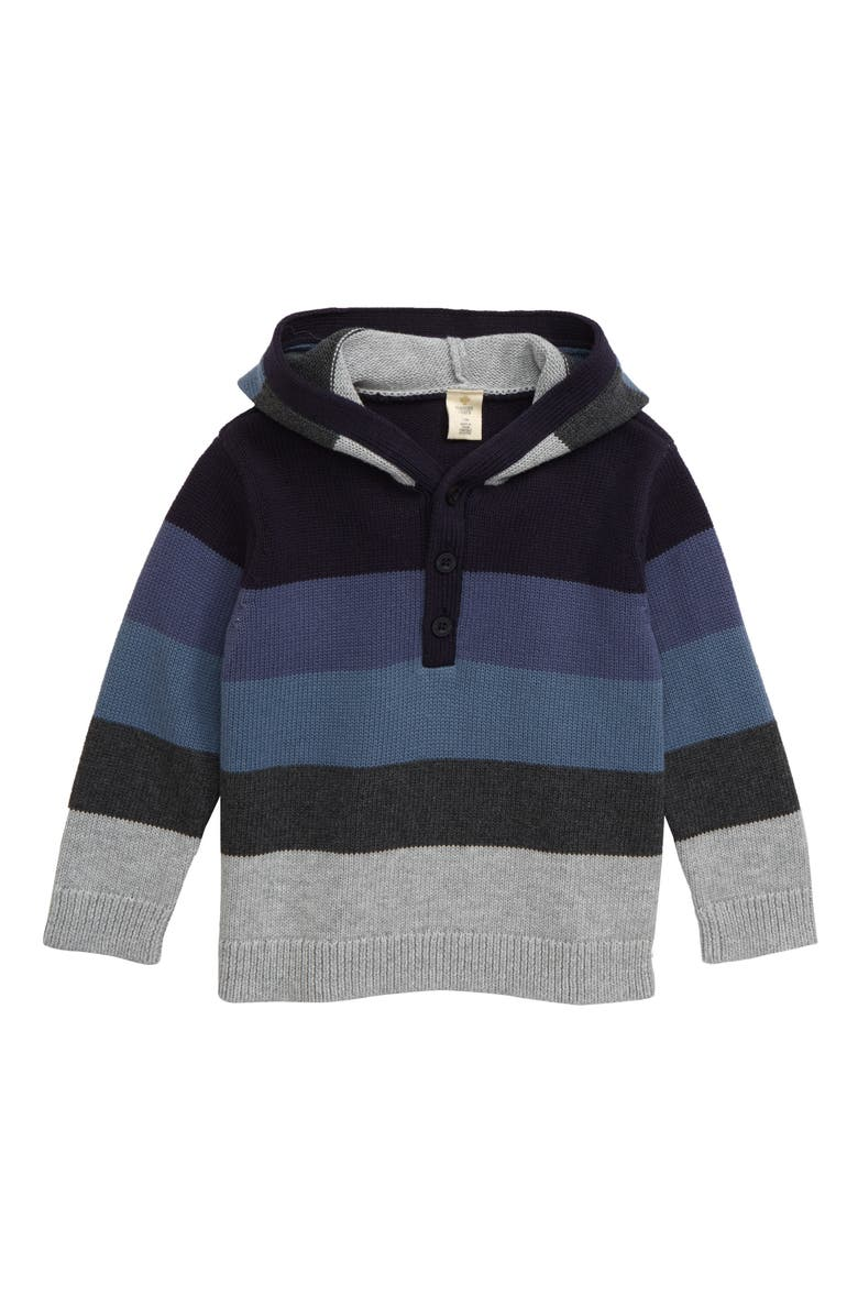 TUCKER + TATE Catch Me Cuddlin' Hooded Sweater, Main, color, NAVY CHARCOAL MULTI STRIPE