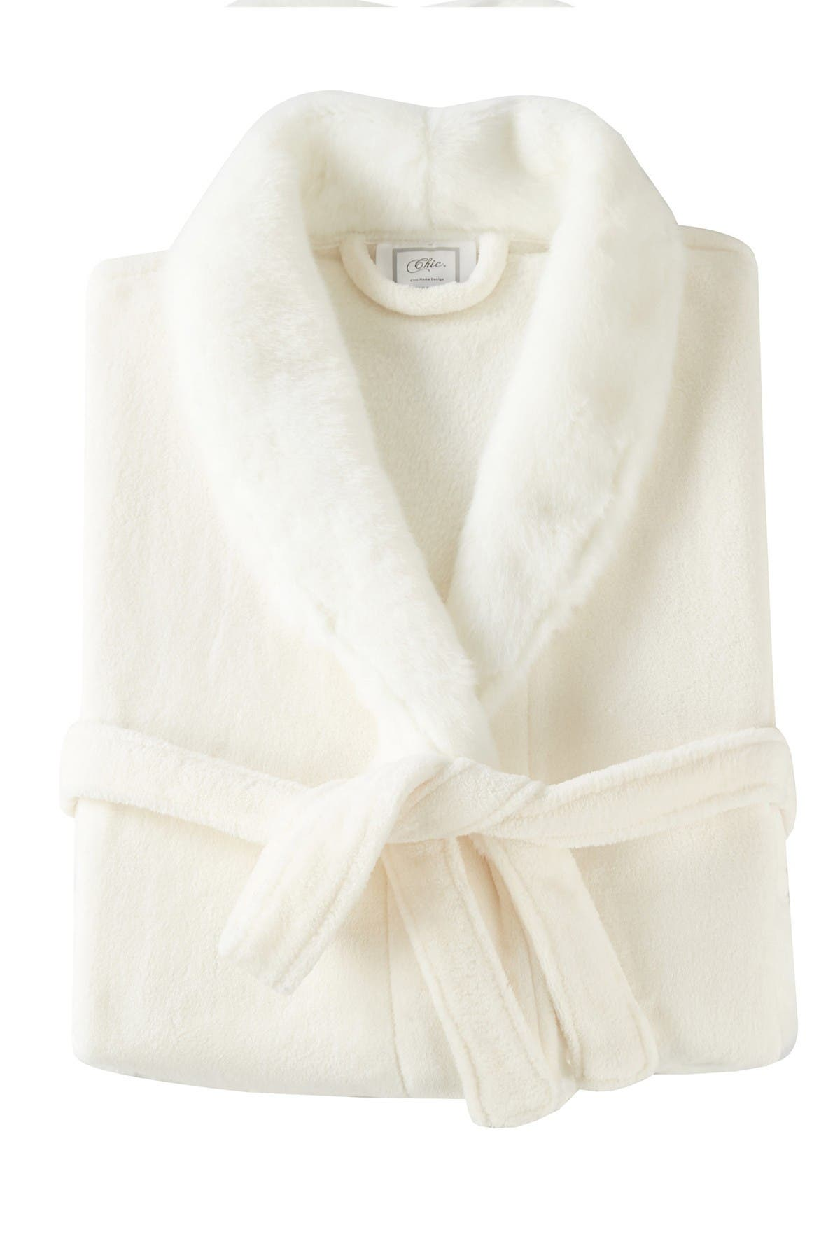 Chic Home Bedding Rolo Faux Fur Trim Robe - Beige at Nordstrom Rack