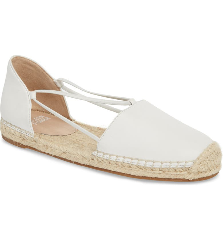 EILEEN FISHER Lee Espadrille Flat, Main, color, WHITE LEATHER