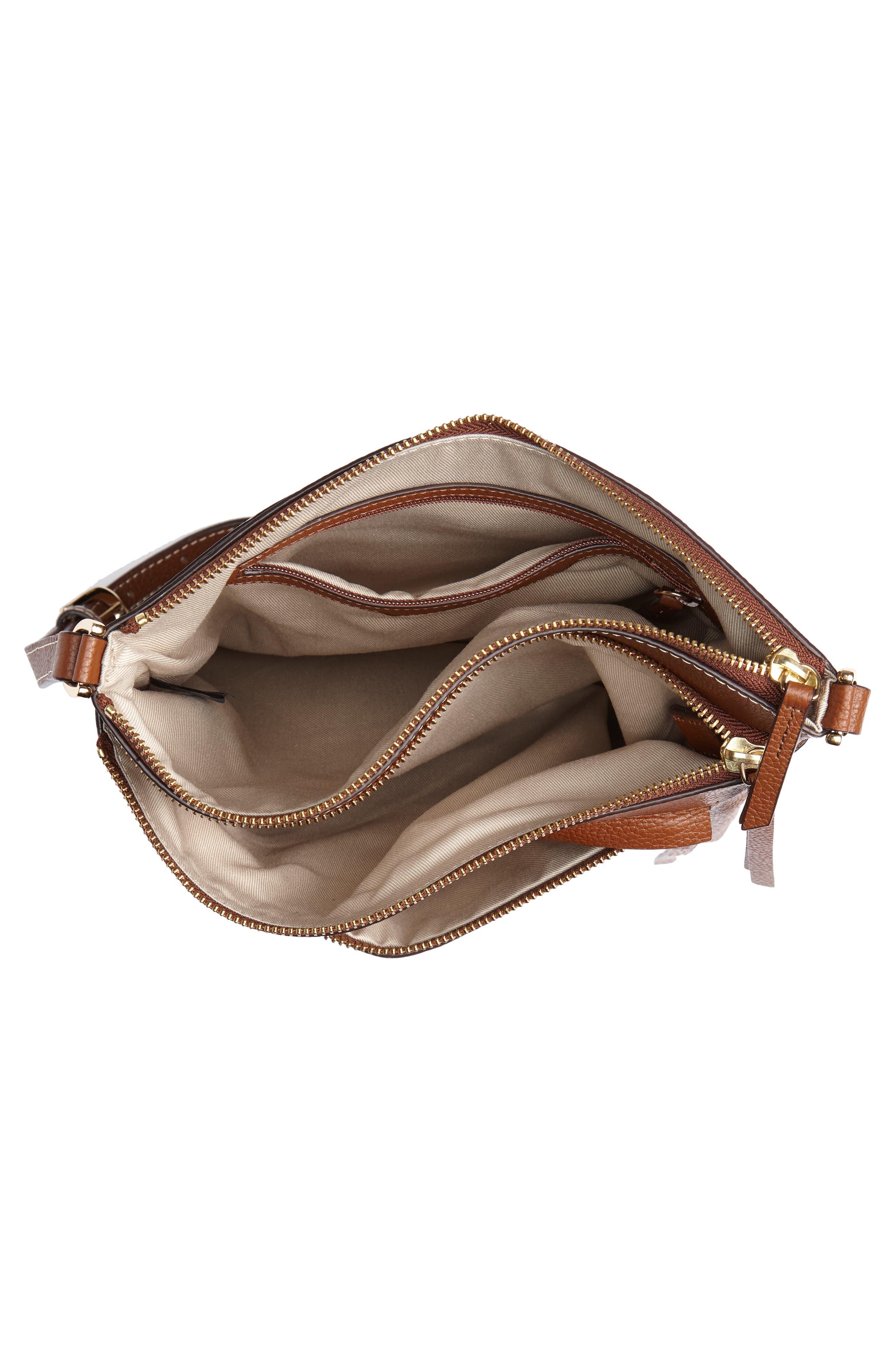 ,                             Finn Leather Crossbody Bag,                             Alternate thumbnail 5, color,                             BROWN AZTEC