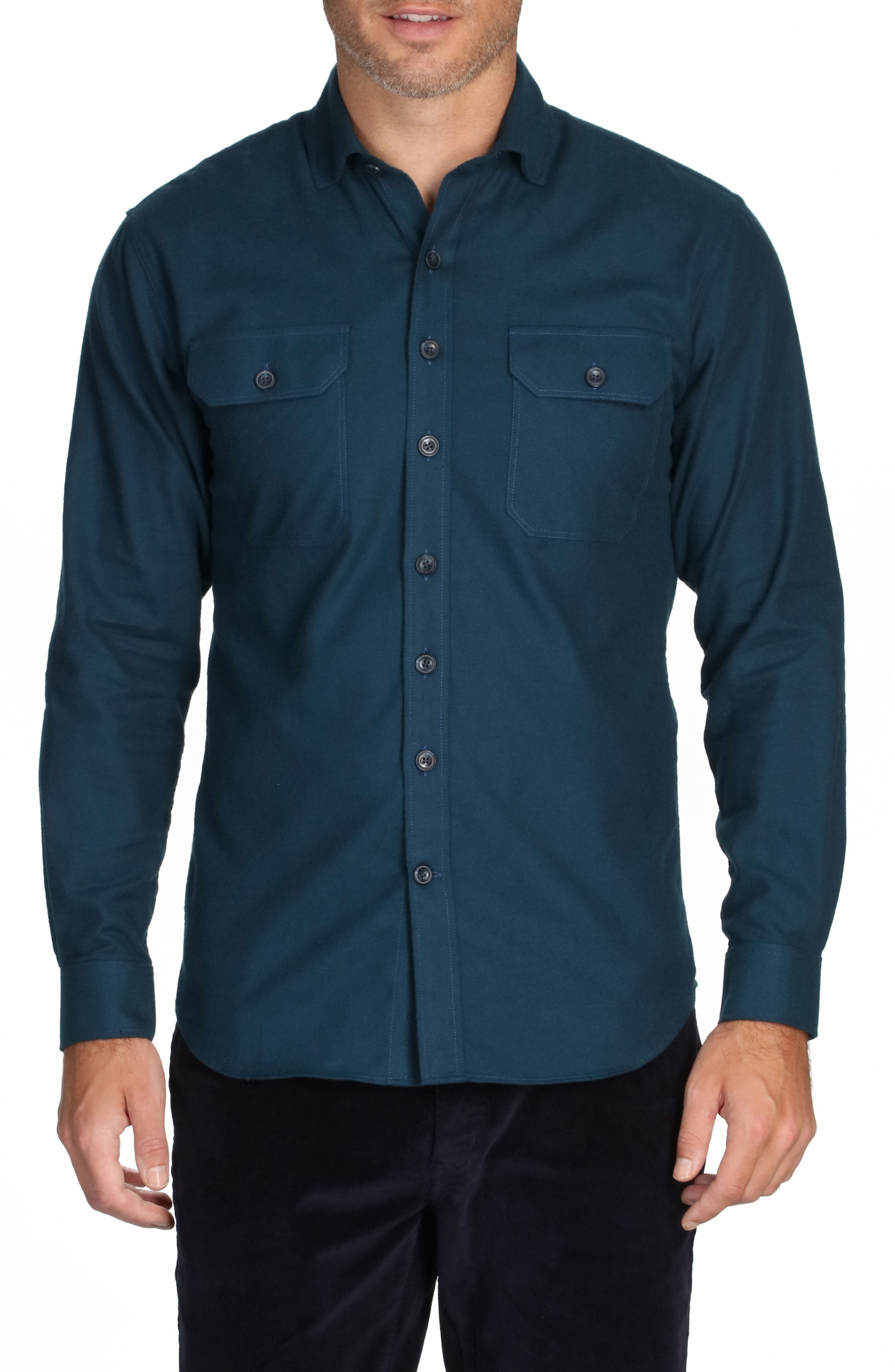Jackson Everyday Solid Flannel Button-Up Shirt