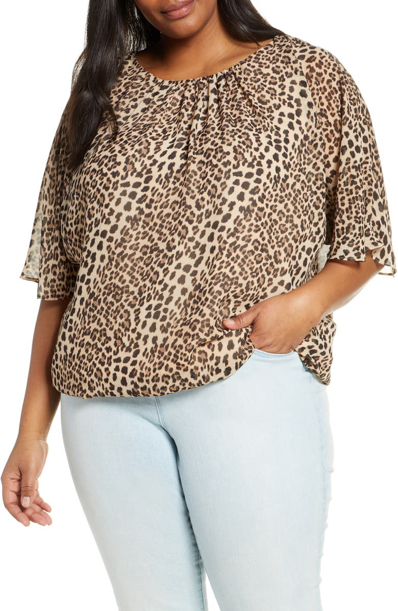 VINCE CAMUTO Animal Flurry Batwing Sleeve Top, Main, color, 001