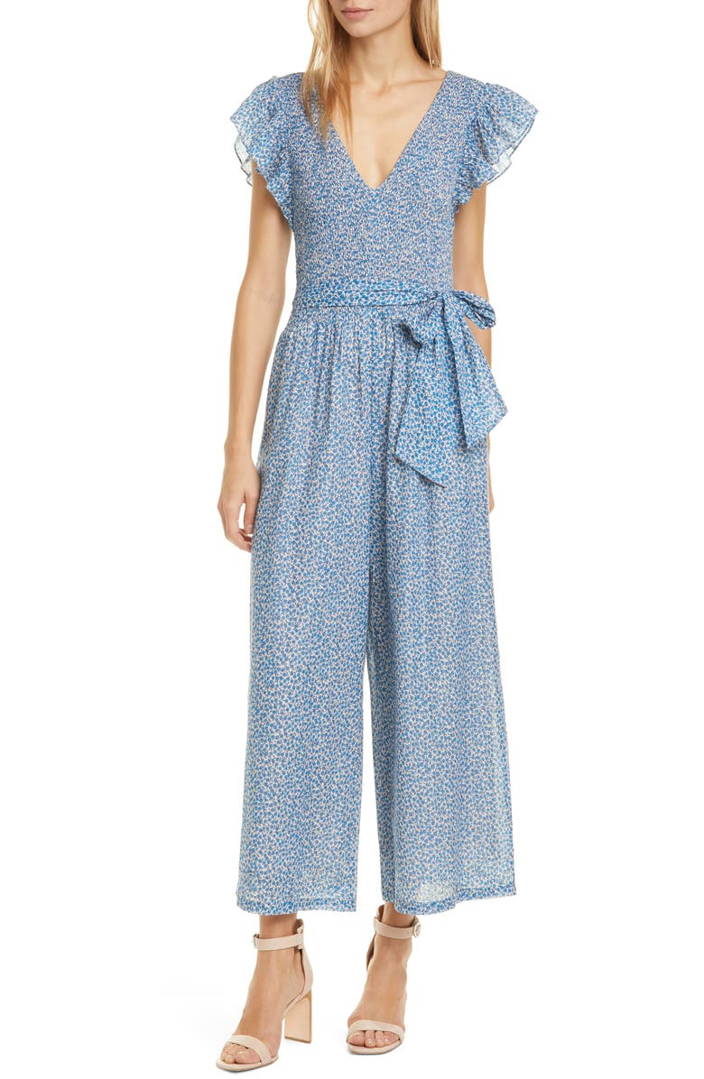 LA VIE REBECCA TAYLOR Paulette Floral Metallic Sleeveless Jumpsuit, Main, color, LAPIS COMBO
