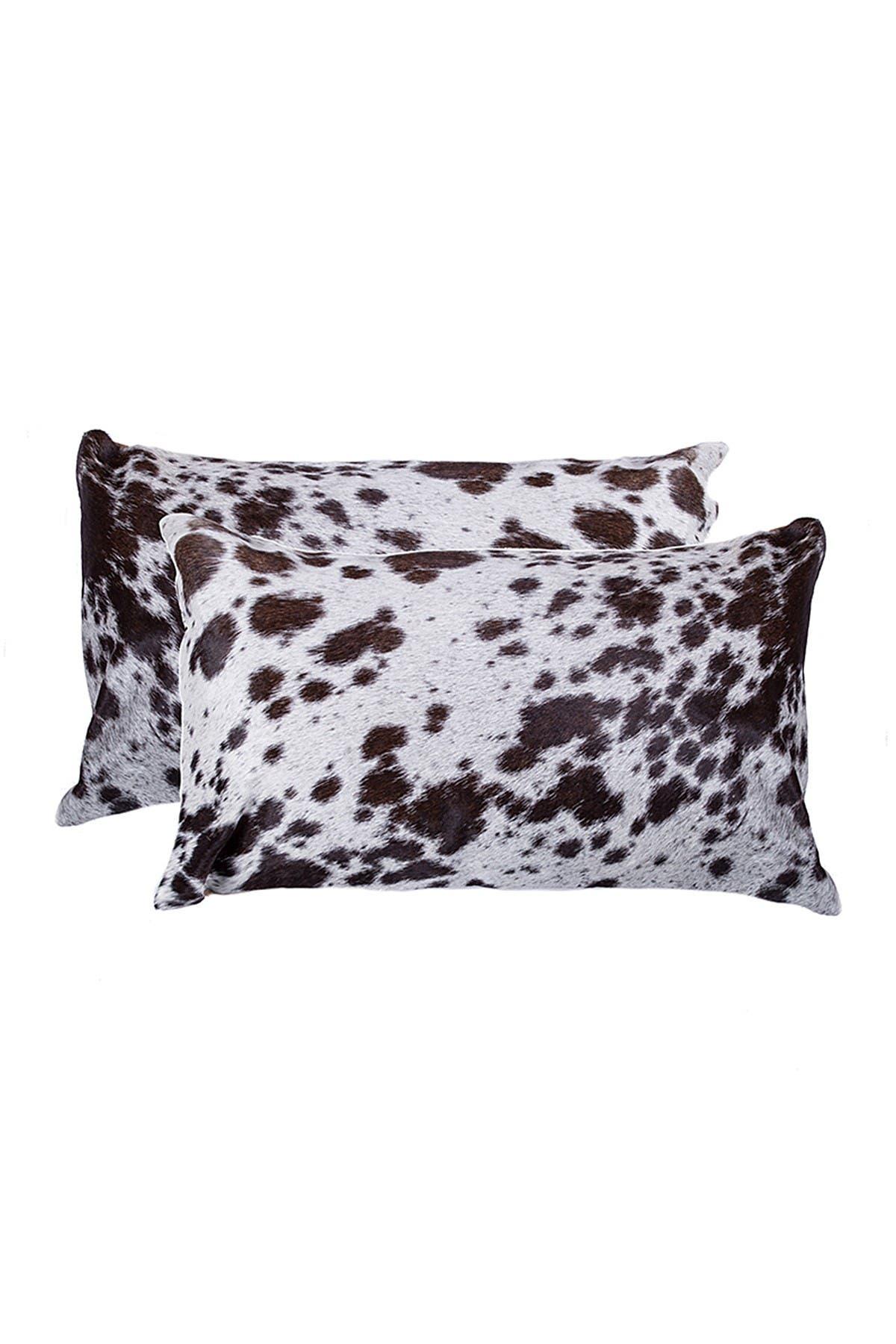 "Image of Natural Torino Kobe Genuine Cowhide Pillow - Set of 2 - 12""x20"" - Chocolate/White"