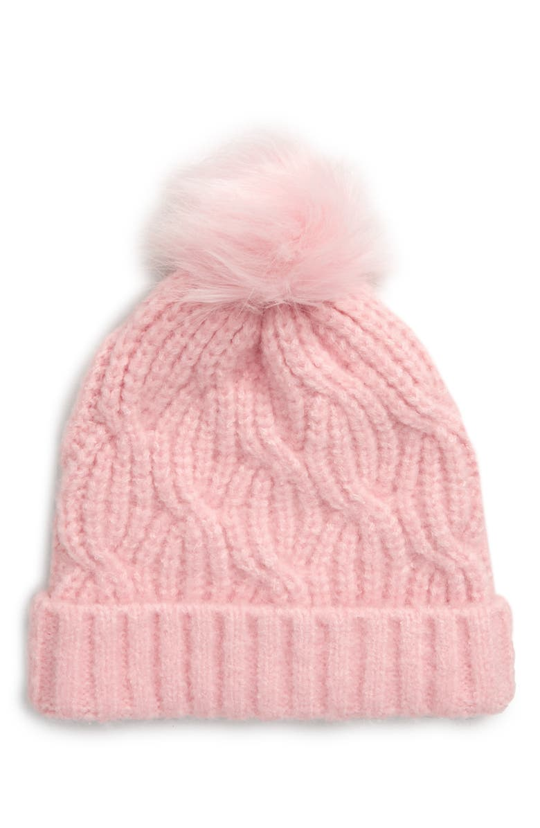 TUCKER + TATE Pompom Stitch Beanie, Main, color, PINK PEACHSKIN HEATHER