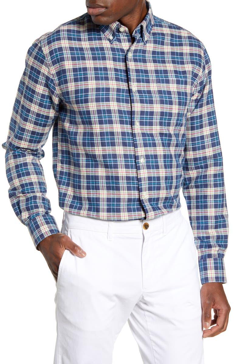 JOHNNIE-O Forrest Classic Fit Plaid Button-Down Shirt, Main, color, TWILIGHT