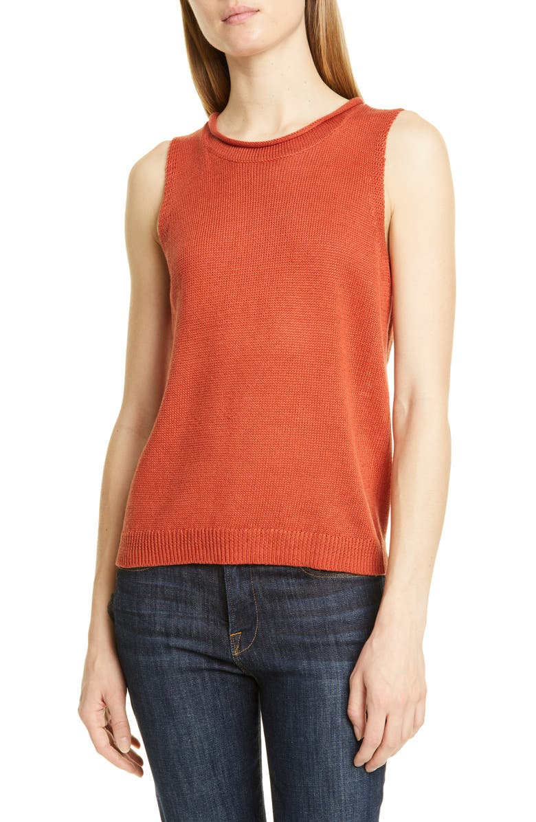 NORDSTROM SIGNATURE Sleeveless Linen & Cotton Sweater, Main, color, RUST CINNABAR
