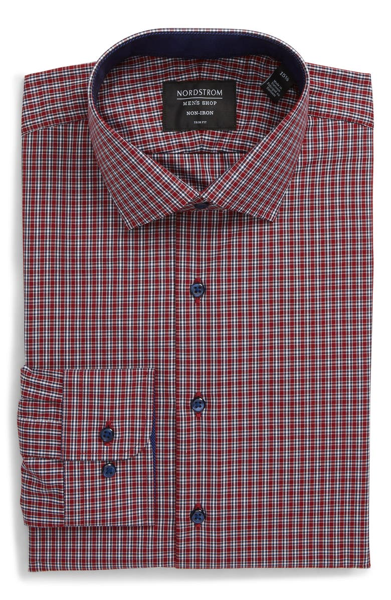 NORDSTROM MEN'S SHOP Trim Fit Non-Iron Check Dress Shirt, Main, color, RED RUMBA