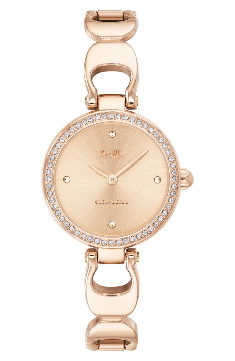 COACH Park Crystal Bangle Watch, 26mm, Main, color, ROSE GOLD