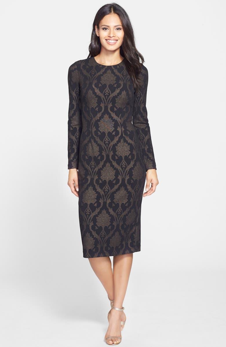MAGGY LONDON Metallic Jacquard Midi Sheath Dress, Main, color, 015