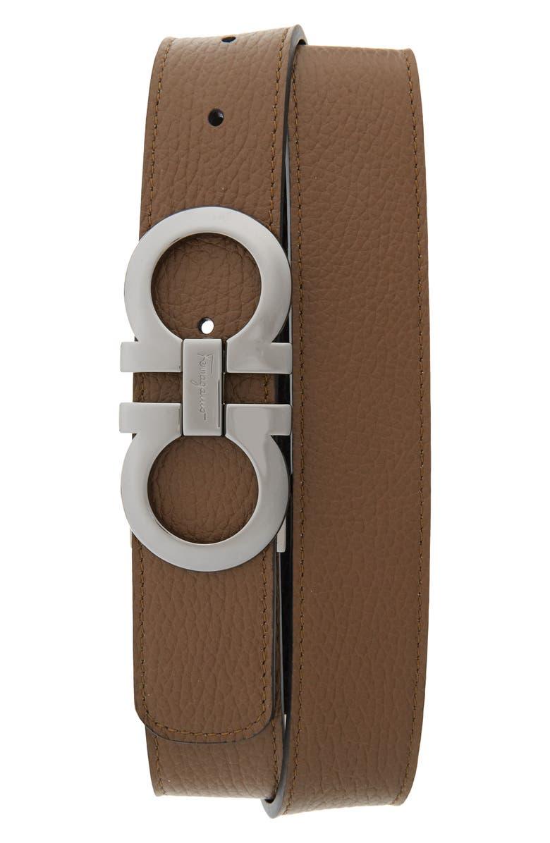 SALVATORE FERRAGAMO Reversible Leather Belt, Main, color, BROW SUG/NERO