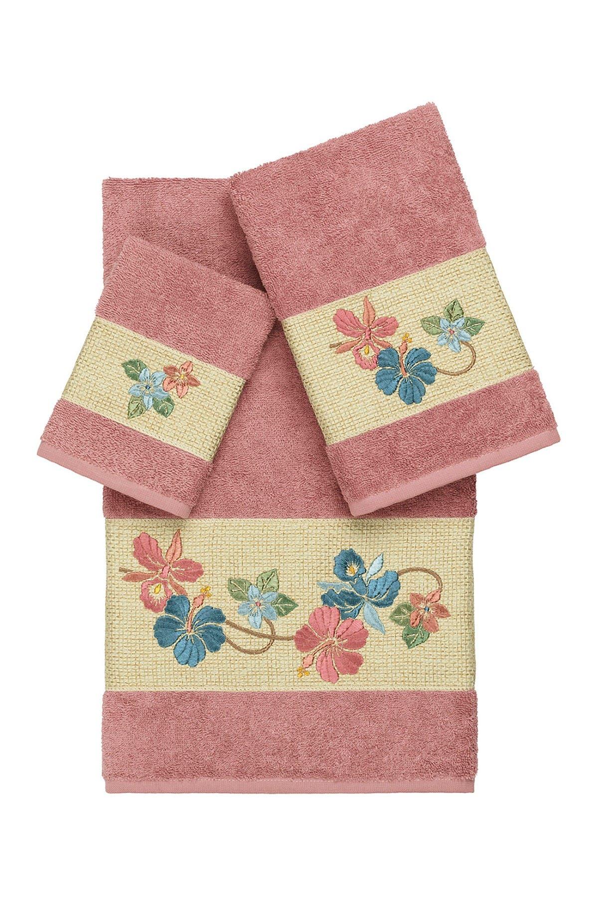 Image of LINUM HOME Caroline 3-Piece Embellished Towel Set - Tea Rose