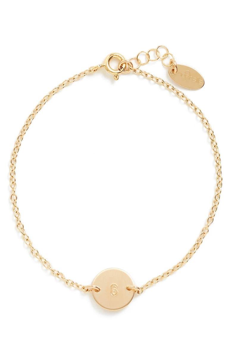 NASHELLE Initial Mini Disc Bracelet, Main, color, 14K GOLD FILL G
