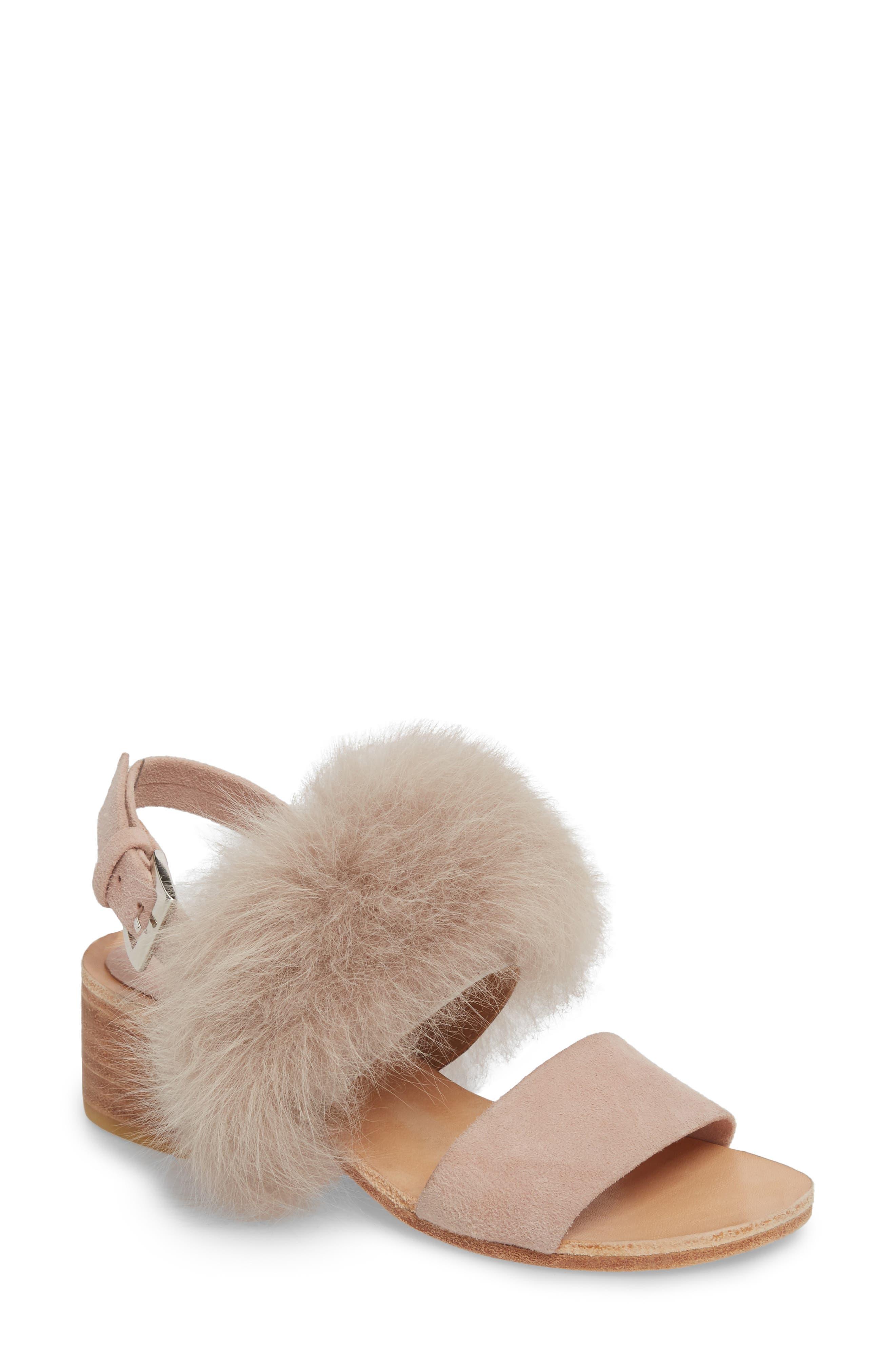 Huma Blanco Clemence Genuine Alpaca Fur Sandal, Pink