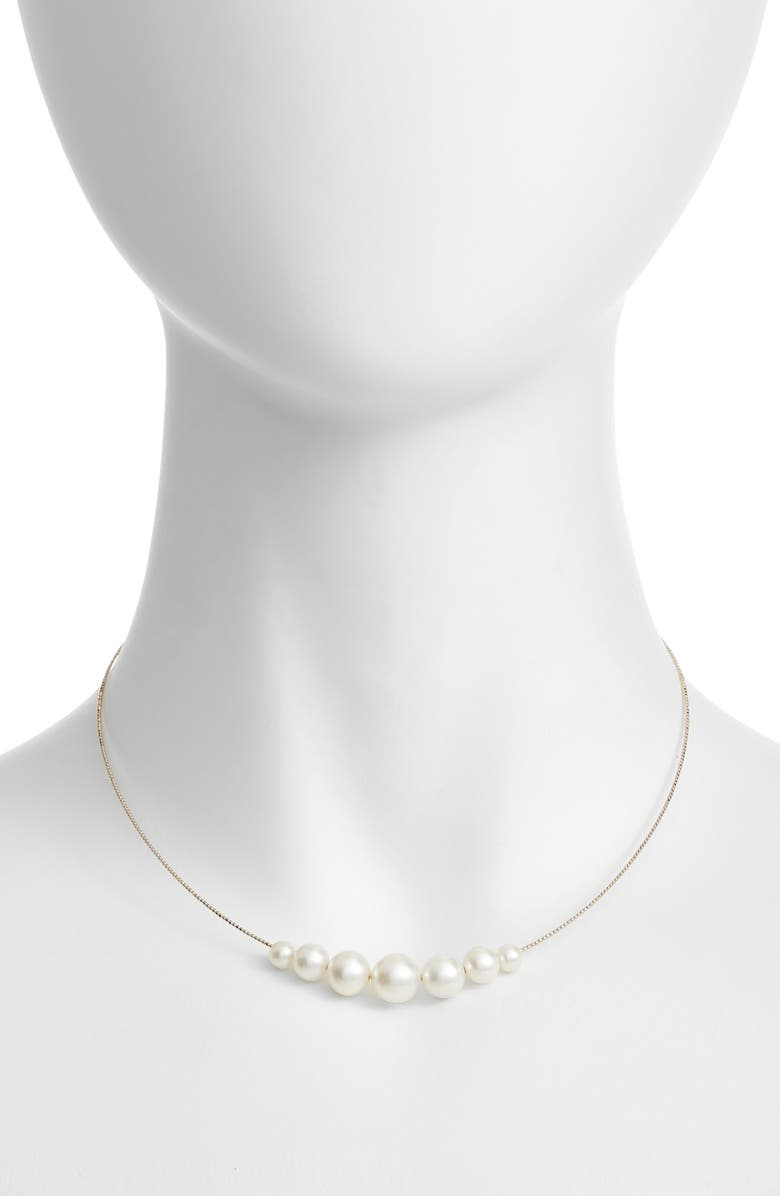 POPPY FINCH Pearl Choker Necklace, Main, color, YELLOW GOLD/ WHITE PEARL