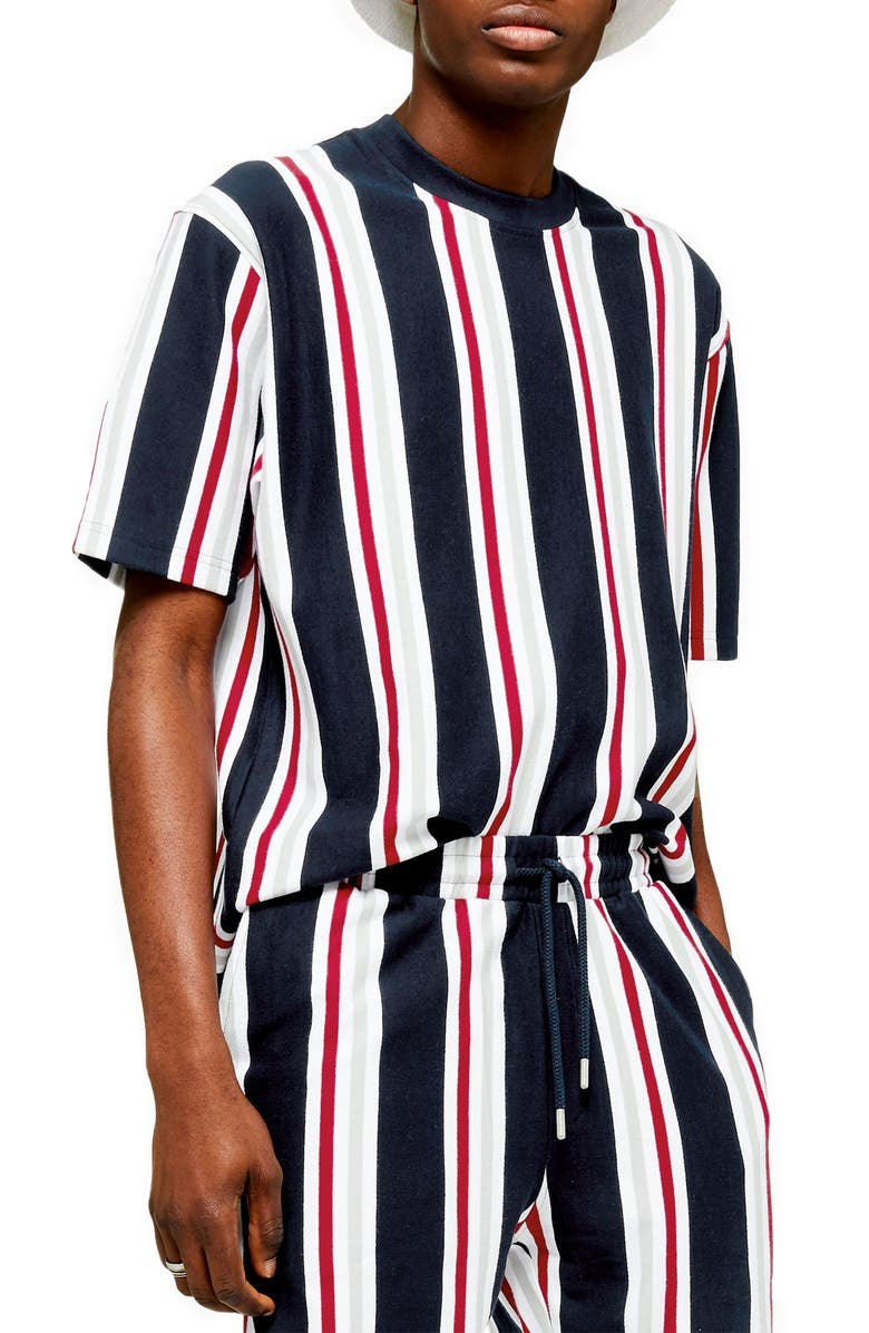 TOPMAN Stripe Short Sleeve Velour Sweatshirt, Main, color, NAVY MULTI
