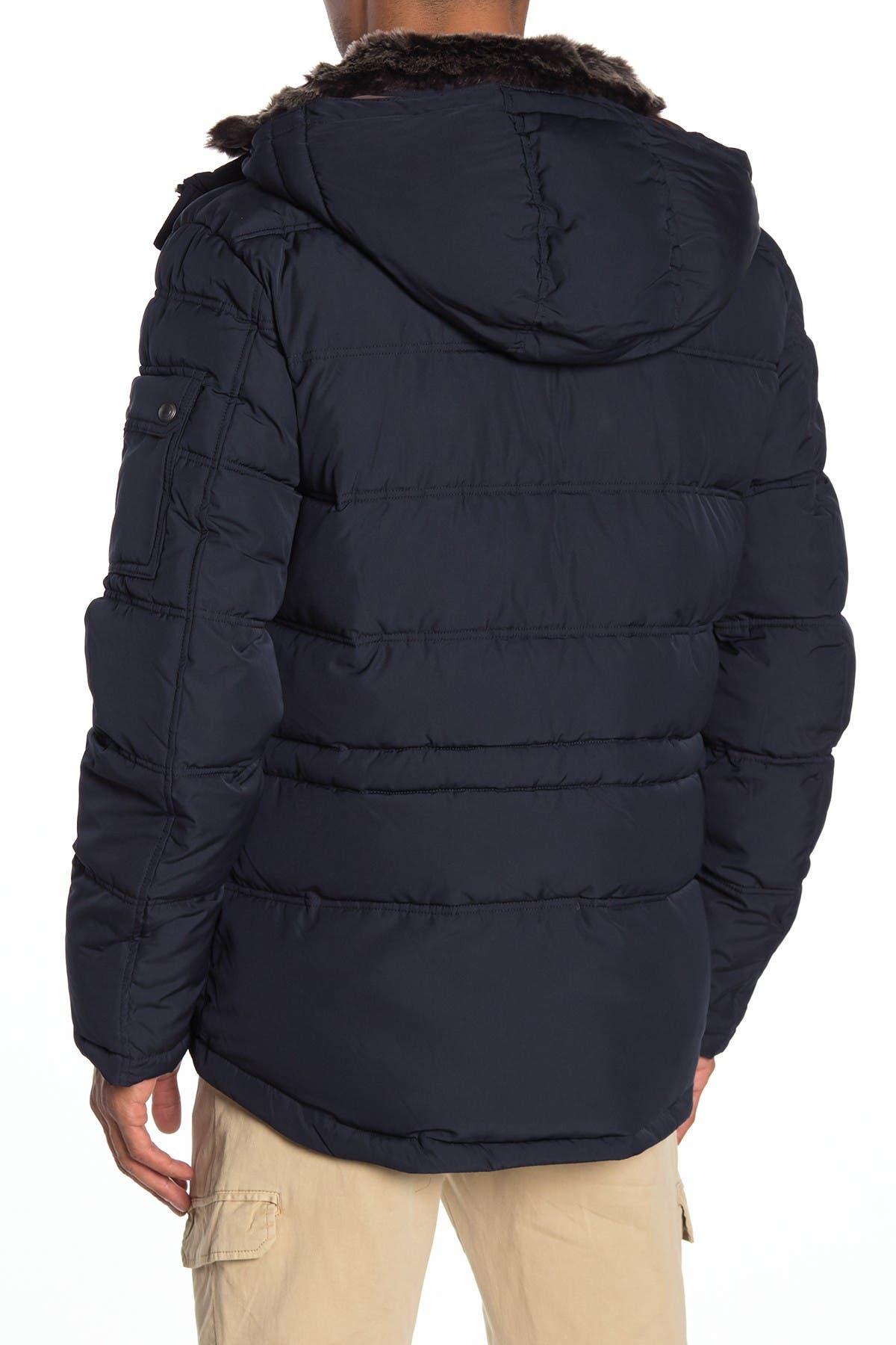 Image of Cole Haan Faux Fur Trim Hooded Zip Puffer Jacket
