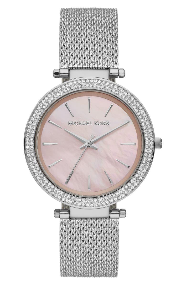 MICHAEL MICHAEL KORS Michael Kors 'Darci' Crystal Bezel Mesh Strap Watch, 39mm, Main, color, SILVER/ PINK MOP/ SILVER