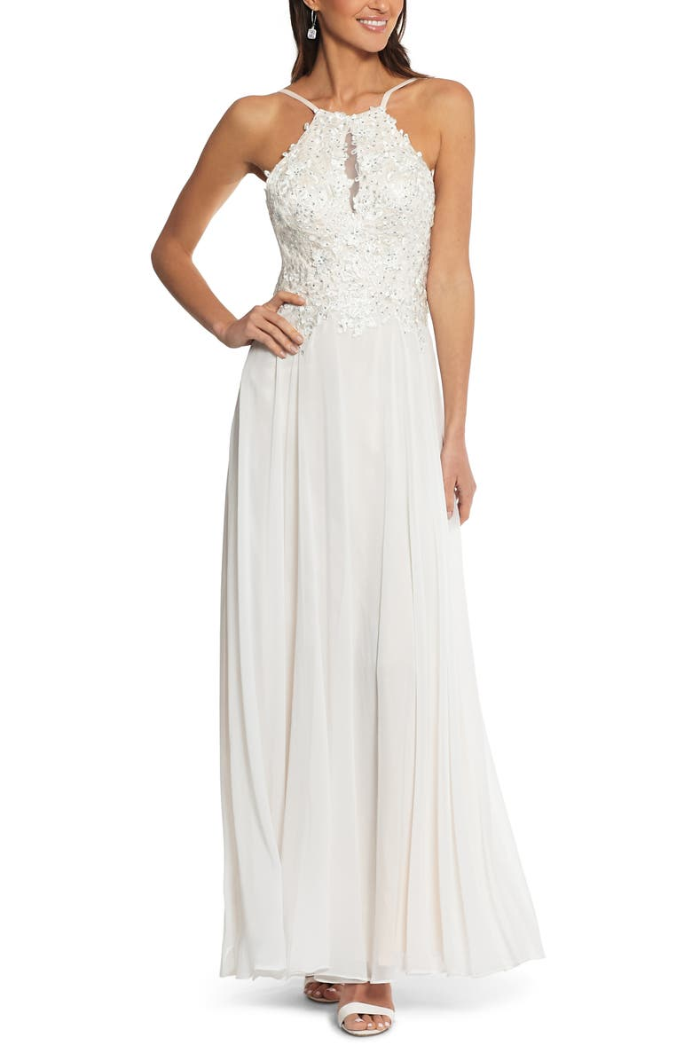 XSCAPE Beaded 3D Floral Lace Chiffon Evening Dress, Main, color, 680