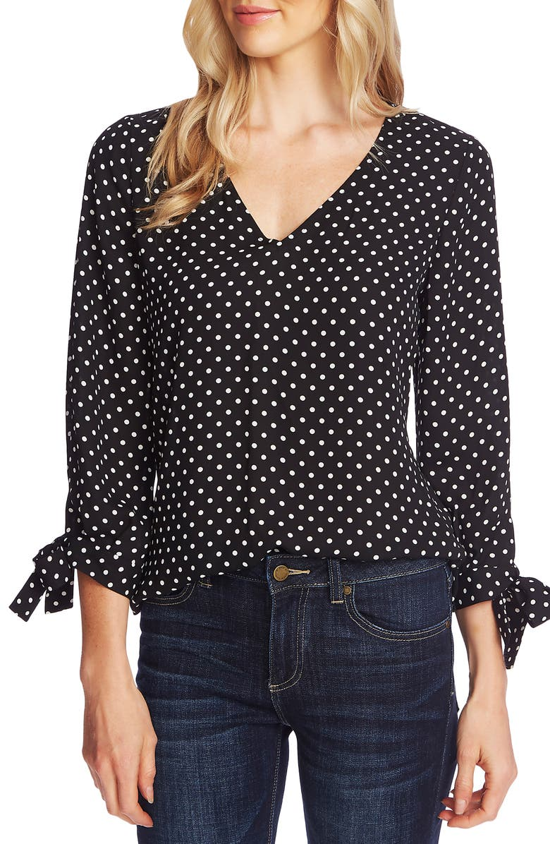 CECE Heirloom Polka Dot Long Sleeve Blouse, Main, color, RICH BLACK