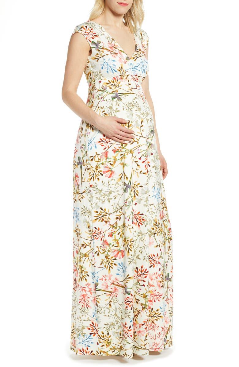 TIFFANY ROSE Alana Maternity/Nursing Maxi Dress, Main, color, WHITE