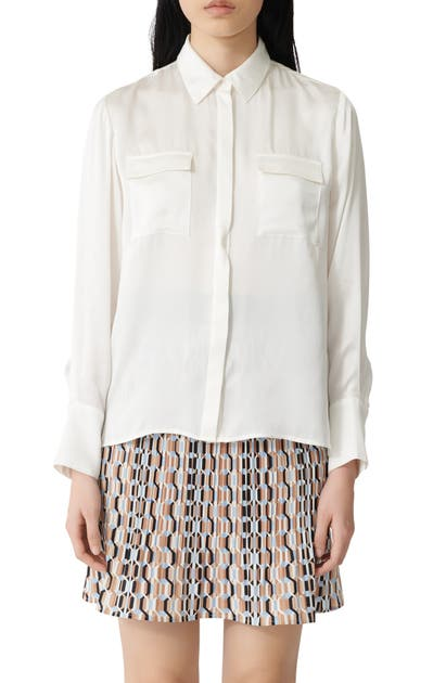 Maje Button-up Silk Shirt In White