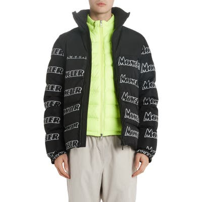 Moncler Faiveley Logo Down Puffer Jacket, Grey
