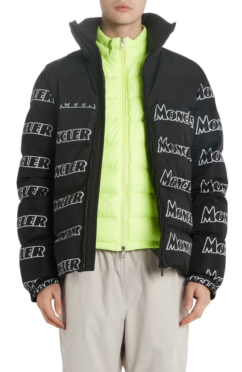 MONCLER Faiveley Logo Down Puffer Jacket, Main, color, GREY
