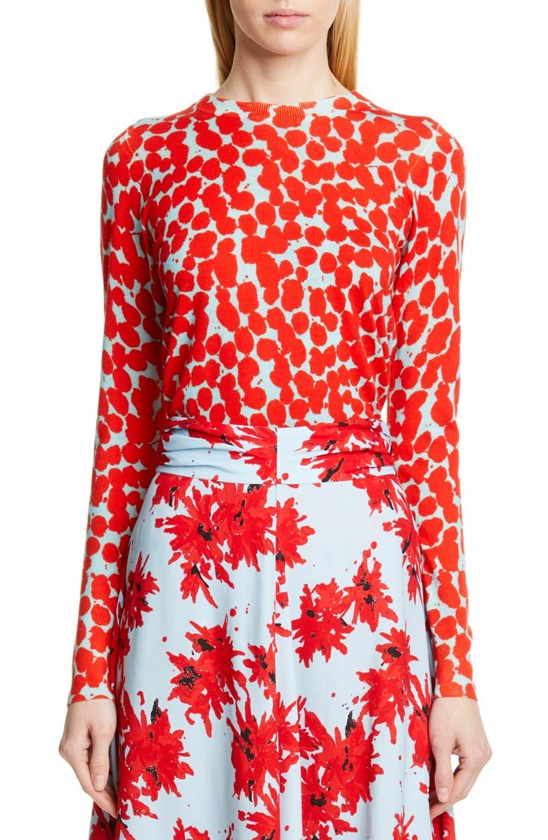 PROENZA SCHOULER Dot Merino Wool Sweater, Main, color, LIGHT BLUE/ RED